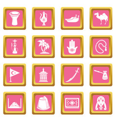 turkey travel icons set pink square vector image