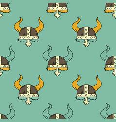 Viking helmet seamless pattern vector