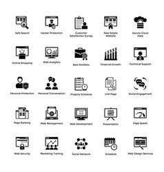 web and graphic designing glyph icons set 8 vector image