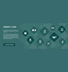 Weight loss banner 10 icons conceptbody scale vector