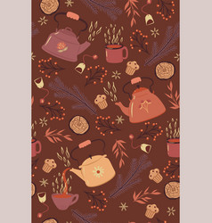 winter tea seamless pattern with teapots and mugs vector image