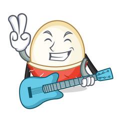 With guitar rambutan mascot cartoon style vector