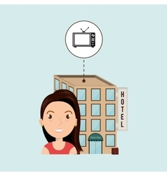 Woman hotel building service vector