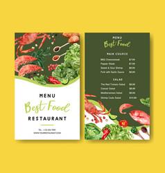 World food day menu design with crab shrimp vector