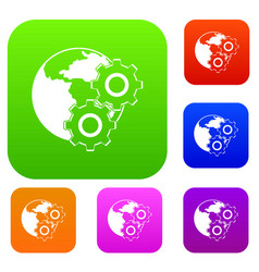 world planet and gears set color collection vector image