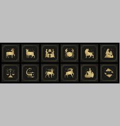 Zodiac astrology horoscope signs linocut vector