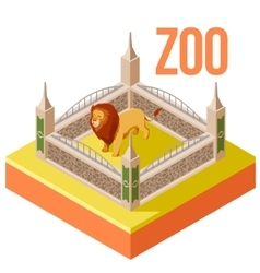 Zoo lion isometric icon vector