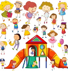 Children doing different actions and playhouse vector image vector image