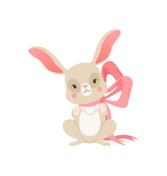 cute cartoon bunny with pink bow funny rabbit vector image