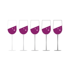 glass of wine set vector image