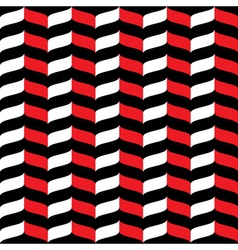 Wavy zig zag seamless pattern red white and black vector image