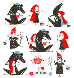 little red riding hood and wolf fairytale vector image vector image