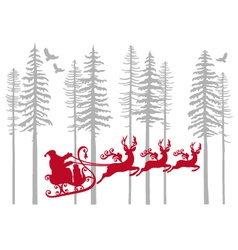 Santa Claus with his reindeer in fir forest vector image vector image
