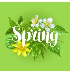 Spring green leaves and flowers card with plants vector