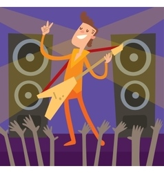 Young artist of concert crowd vector