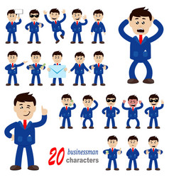 20 businessman characters vector image vector image