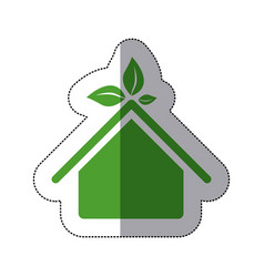 color sticker house with leaves above the roof vector image