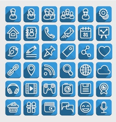 Flat Icons Social Media Blue Set vector image vector image