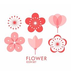Flower Icon set Sakura vector image vector image