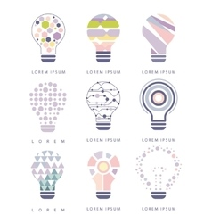Idea bulb different abstract design pastel icons vector