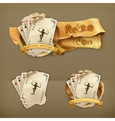 Playing cards with a joker icon vector image