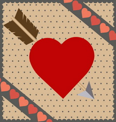 red heart with arrow background vector image vector image