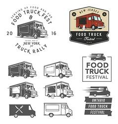 Set of food truck festival emblems badges and des vector image