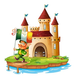 A castle with a man holding the flag of Ireland vector image