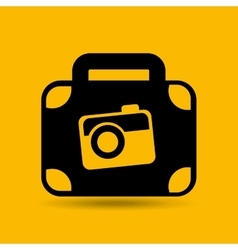 concept travel suitcase and camera icon button vector image