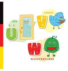 deutsch alphabet door bird watermelon vector image vector image