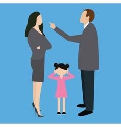 Parent couple fight argue arguing in front child vector