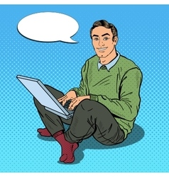 Pop Art Smiling Young Man Working with Laptop vector image vector image