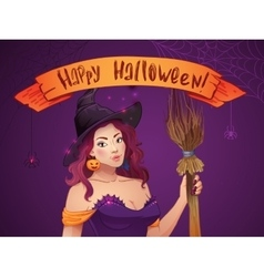 Pretty Witch Halloween Sexy girl with broom and vector image