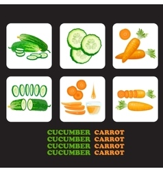 Set of cucumbers and carrots icons vector image