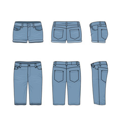 set of male and female jeans shorts vector image vector image