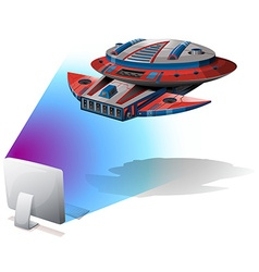 Spaceship flying out of computer screen vector image vector image