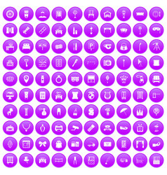 100 mirror icons set purple vector