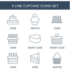 9 cupcake icons vector image