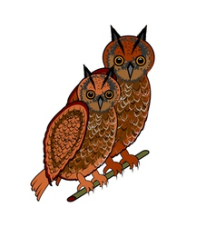 A couple of two owls on a white background vector image