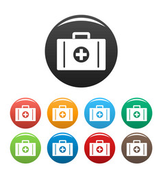 aid kit icons set color vector image