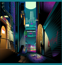 Alley at night cyber punk theme vector