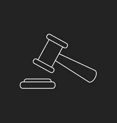 auction hammer icon in line style court tribunal vector image