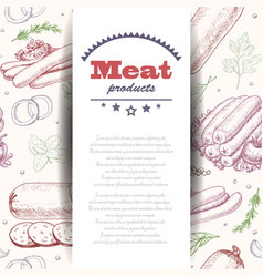 background with meat products vector image
