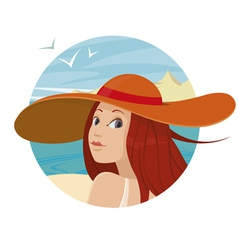 beautiful girl in hat vector image