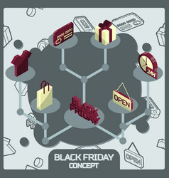 black friday color concept isometric icons vector image