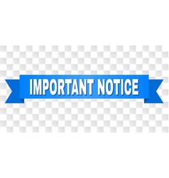 Blue stripe with important notice caption vector