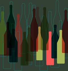 bottles wine background vector image