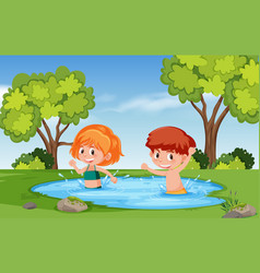 Boy and girl playing in water vector