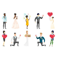 Bride and groom set vector