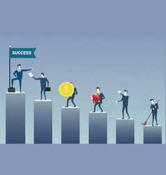 business people standing financial bar graph group vector image